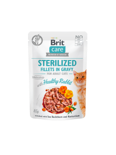 Brit Care Cat Fillets Gravy Steril Healthy Rabbit 85g